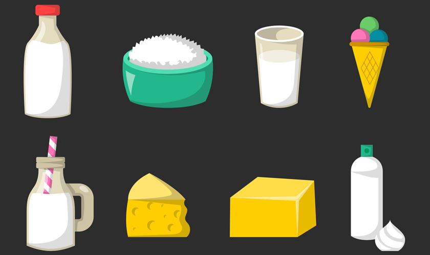 Ilustración de alimentos con lactosa,
